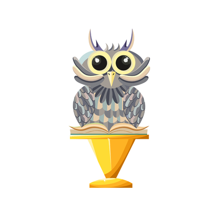 Wise owl with book on a gold pedestal. Game style. - Stock vector