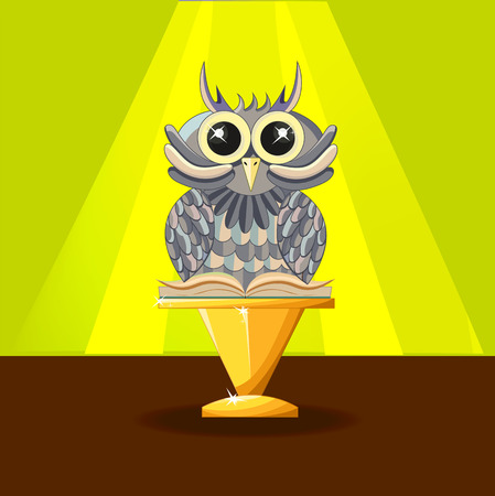 Wise owl with a book on the yellow background. Statuette on a golden pedestal. Reward. - Stock vector Illustration