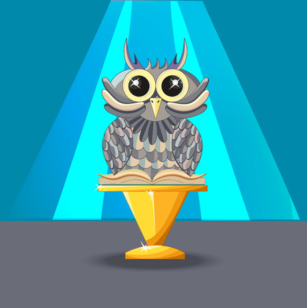 Wise owl with a book on the blue background. Statuette on a golden pedestal. Reward. - Stock vector