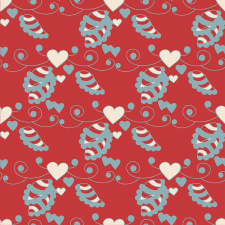 Seamless romantic pattern. White hearts on a red background. - Vector stock