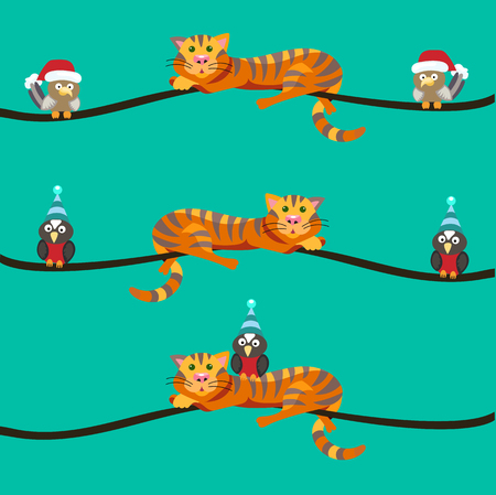 Red cat lays on Christmas tree branch. Nearby sit the birds. Style flat. - Stock vector