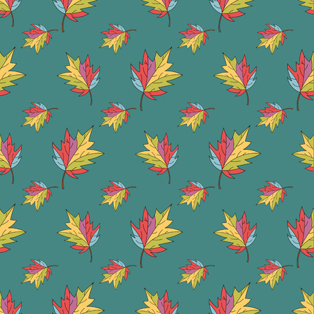 seamless pattern background with colorful autumn leaves - vector illustration Illustration
