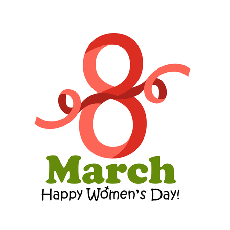 8 March Women's Day greeting card - vector illustration