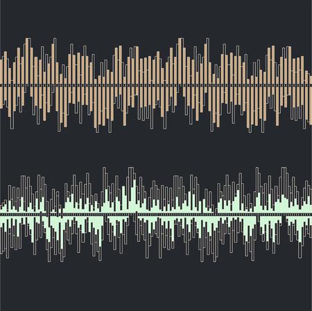 Collection d'ondes sonores sur fond gris plat isolé - illustration vectorielle
