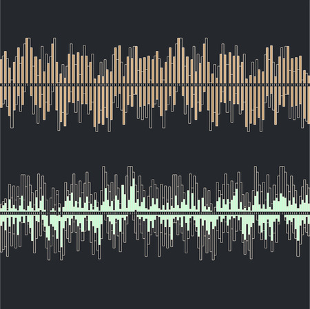 Sound waves collection on gray background flat isolated - vector illustration