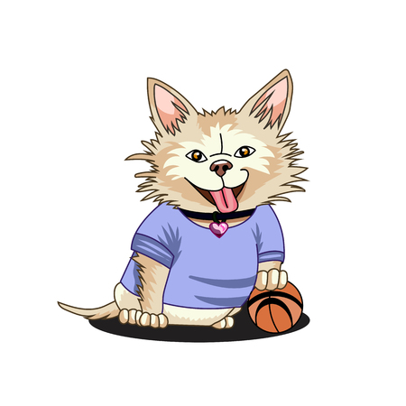 Happy chihuahua playing with an orange ball on a white background. Dog sports vector illustration isolated.