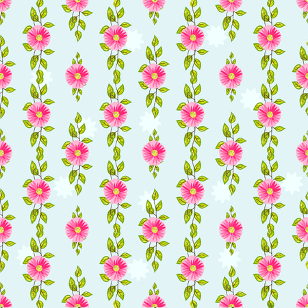 Green spring floral seamless pattern with pink beautiful flowers on a blue background vector illustration Illustration