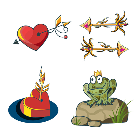 Romantic fairytale set with a princess frog, golden arrows and hearts on a white background vector illustration
