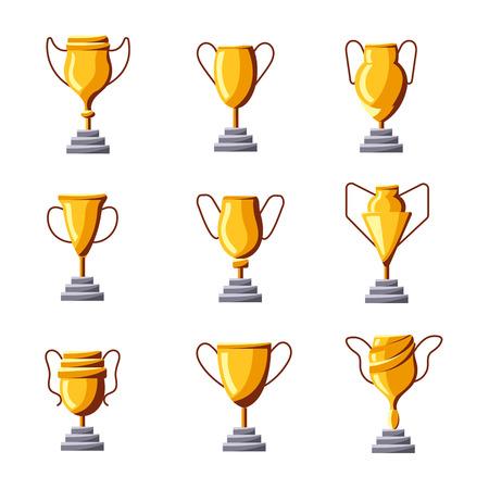 Winners award set flat golden goblet icon vector illustration isolated