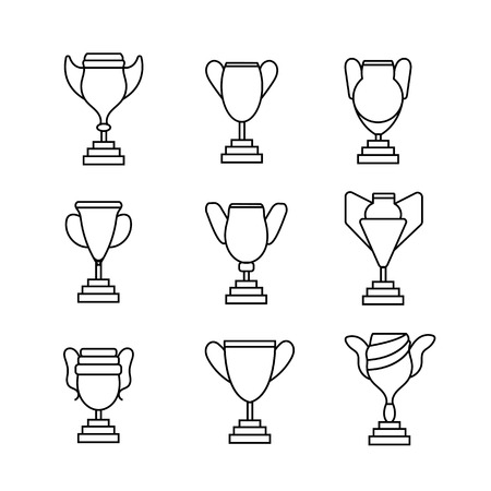 Winner's award set line golden goblet icon vector illustration isolated Ilustração
