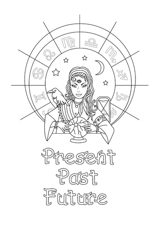 The girl predicts the future on a magic ball. Coloring page.The past, the present and the future vector illustration