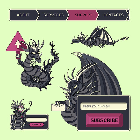Web site design menu navigation elements, subscription and search form In fantastic style with dragons illustration