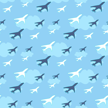 Seamless pattern with airplanes on sky background illustration