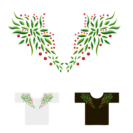 decoration for neck embroidered with leaves and berries illustration