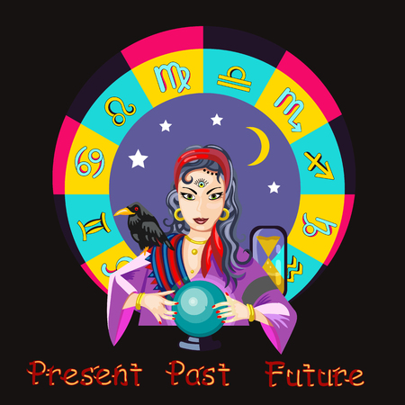 The girl predicts the future on a magic ball illustration