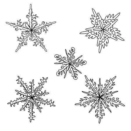 Set of decorative snowflakes. Winter pattern. Exotica. Color book. Illustration