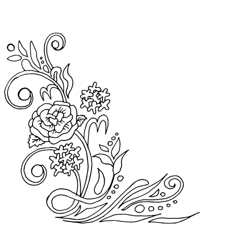 Beautiful summer pattern of flowers. Decoration from roses on a white background. Color book. Fashion in a vector illustration