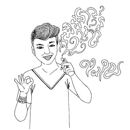 Man guy is a vape on a white background. Hipster holding electronic cigarette, he smoking and make vapor. For vape bar or vape shop Vektoros illusztráció
