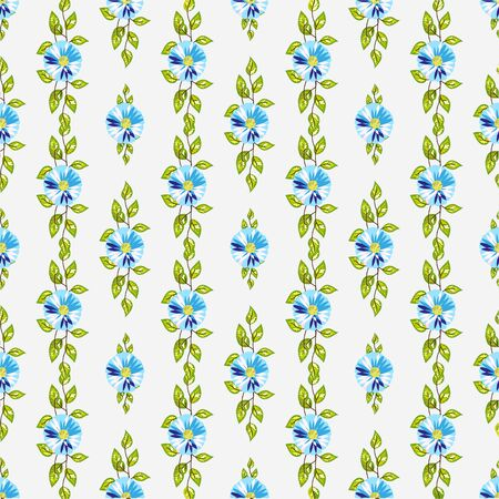 Green spring floral seamless pattern with blue beautiful flowers vector illustration