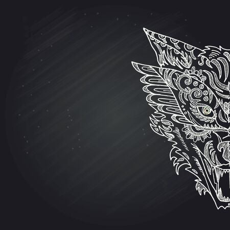 Wild beautiful wolf head hand draw in chalk on a black background. Fashion in a vector illustration