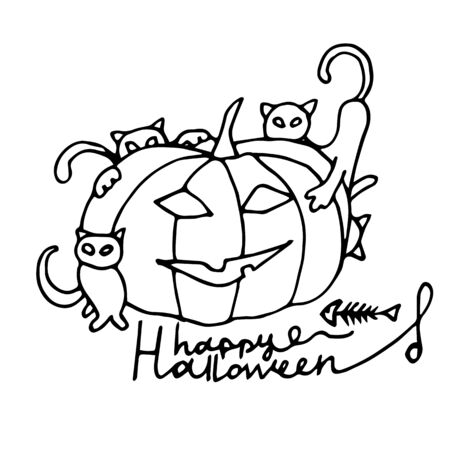 Pumpkin with cats and lettering inscription. Halloween. Autumn holidays. Vector Illustration Ilustração