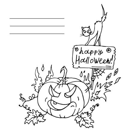 Pumpkin with a sign and cat. Halloween. Autumn holidays. Vector Illustration