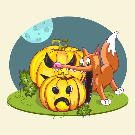 Fox wants to eat a pumpkin. Halloween. Autumn holidays. Vector Illustration.