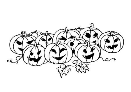 Set of pumpkins. Halloween. Autumn holidays. Vector Illustration. 일러스트
