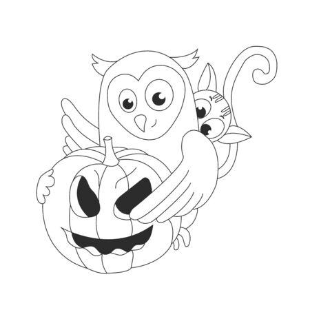 Ð¡artoon cat, an owl and a pumpkin.Halloween. Autumn holidays. Vector Illustration