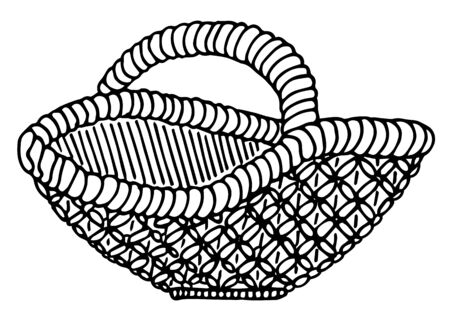 Wicker basket. Isolated vector illustration