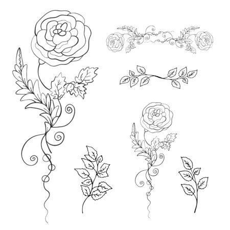 The Rose. Decorative floral pattern. Set. Print. Vector illustration