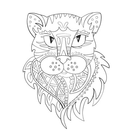 The head of a panther cat. Zentangle. Coloring page. Print. Vector illustration