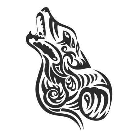 Wolf head on a white background. Print. Vector illustration Vektorové ilustrace