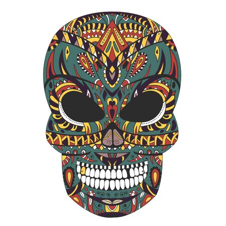 Ornate skull style zentangl, doodle print vector illustration Ilustracje wektorowe