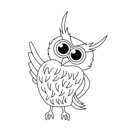 Friendly owl on white isolated background vector illustration Çizim