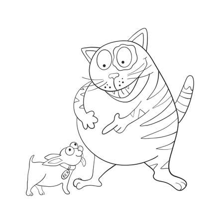Cat points to the dog and laughs. Funny picture line. Friendship. Coloring book. Vector illustration Çizim