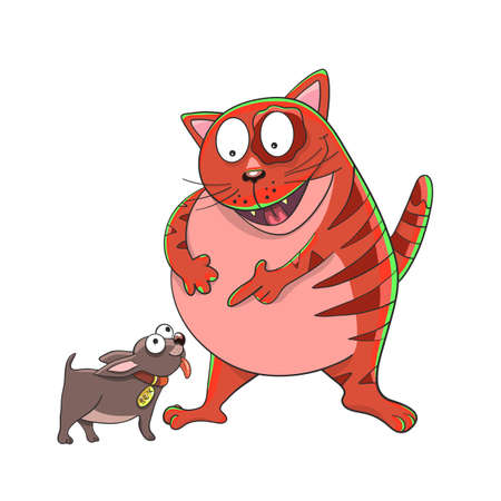 Cat points to the dog and laughs. Funny picture. Friendship. Vector illustration Çizim