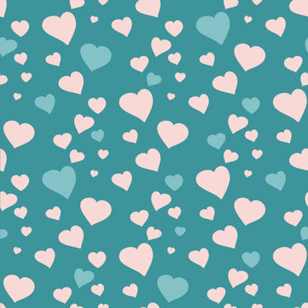 Pink and blue hearts on a turquoise background. Seamless pattern. Romantic background. Wedding valentines day. Vector illustration