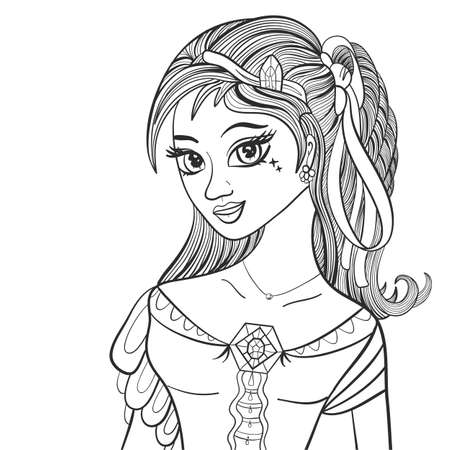 Beautiful girl. Fashionable illustration. Venus goddess. Coloring book page. Vector illustration