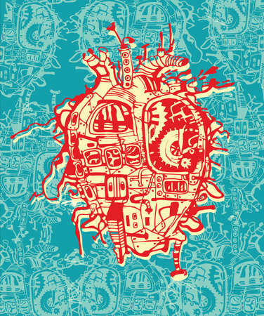 cyberpunk: Beautiful illustration of heart with many mechanisms.