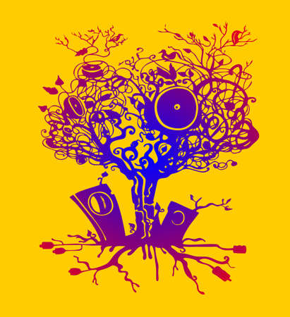The best music is sounds of nature. Music tree. Vector illustration. Çizim