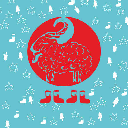 Greeting card with sheep. Vector illustration.