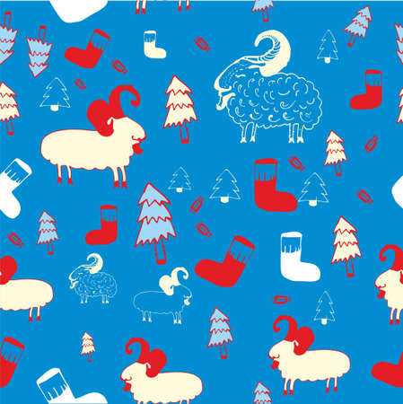 New year seamless pattern with sheeps. Vector illustration. Çizim