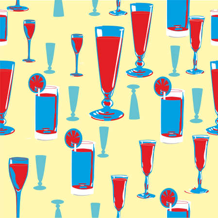 Stylized background pattern with alcohol drinks. Vector illustration.