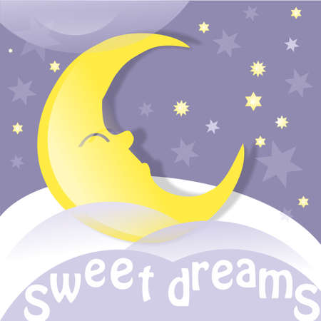 Moon, clouds and stars. Sweet dreams wallpaper. Vector illustration.
