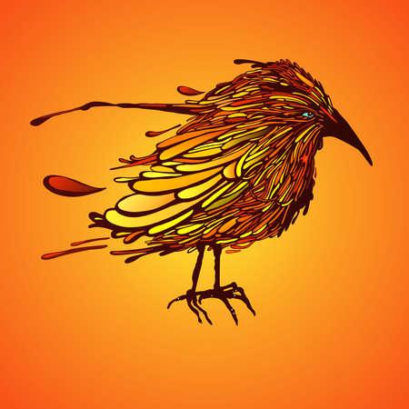 Mooi oranje vogel. Vector illustratie. Stock Illustratie