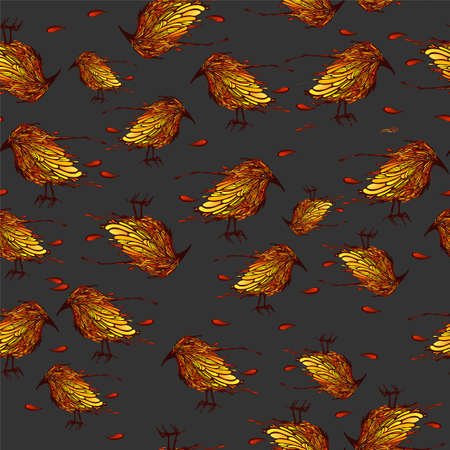 Beautiful seamless pattern with birds. Vector illustration. Иллюстрация