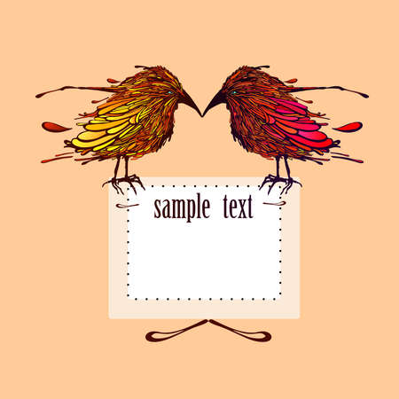 Greeting card with birds and frame for your text. Vector illustration. Çizim