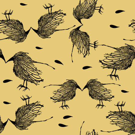 Seamless pattern with birds on a beige background. Vector illustration. Иллюстрация