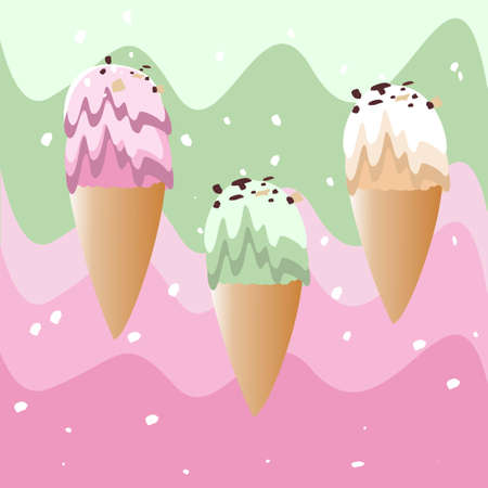 Amazing ice cream for every taste. Vector illustration.